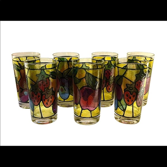 Set of 7 Libbey Stained Glass Fruit Tumblers VTG